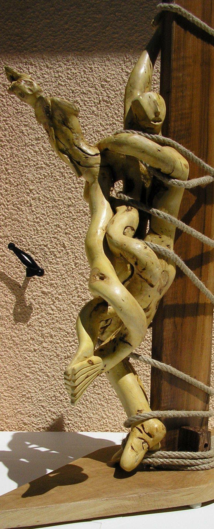Ulysse et la sirene buis monoxyle m t noyer 85 cm